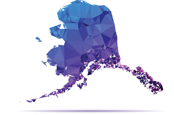 Polygon Triangle Map, Blue: Alaska | Clipart