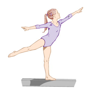 Girls on Balance Beam and Bar Color Illustrator Ver 3 Grouped Elements ' Brilliant on The Bars ' Steady? | Clipart