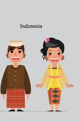 Asian Boys And Girls In Traditional Costume | Clipart