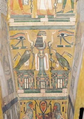 Interior of the coffin of Imenemipet depicting the wedjat eye and a woman with raised arms, 21st-22nd Dynasty