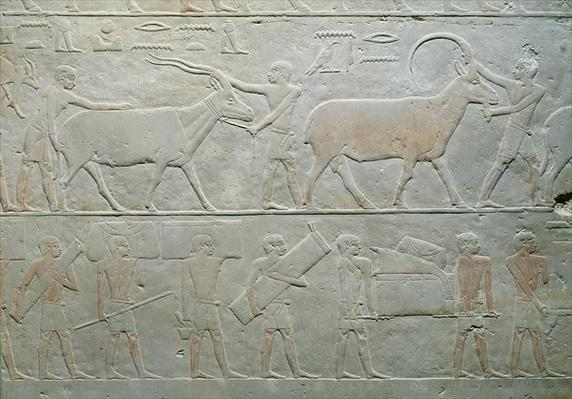 Servants driving an oryx and an antelope and others carrying baggage, from the Mastaba of Akhethotep, Saqqara, Old Kingdom, c.2400 BC