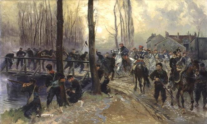 Ambush near a Bridge Defended by Troops, Early Morning, 1870