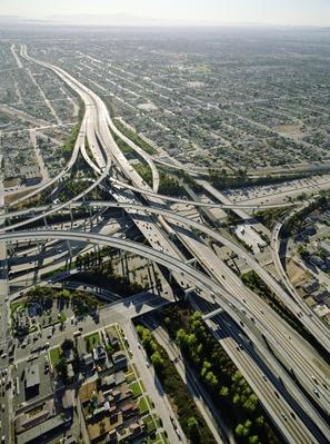 USA, California, Los Angeles, aerial view of 105 and 405 Freeways | Human Impact on the Physical Environment | Geography