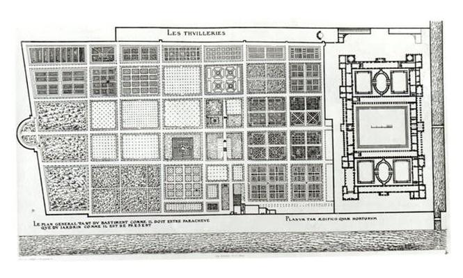 Plan of the Palace and Garden of the Tuileries in Paris in the 16th century, published by A. Levy, 19th century
