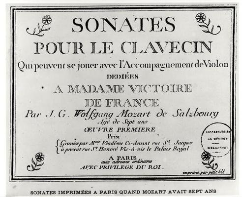 Title Page for 'Sonates pour le clavecin' dedicated to Madame Victoire de France
