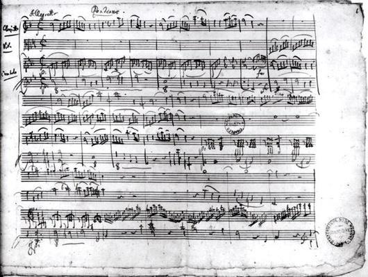 Ms.222 fol.6 Trio, in E flat major 'Kegelstatt' for piano, clarinet, violin and viola