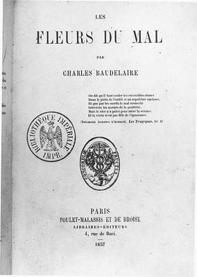 Front Cover of the First Edition of 'Les Fleurs du mal' by Charles Baudelaire