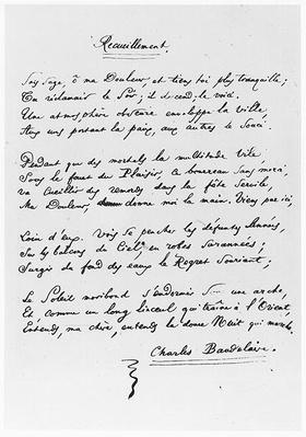 'Recueillement', signed sonnet, 1861