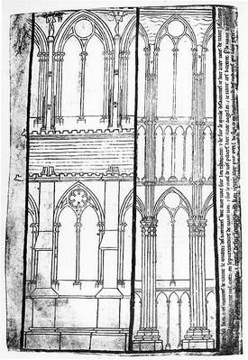 Facsimile copy of Ms Fr 19093 fol.31v Exterior and Interior Elevation of the Lateral Walls of Reims Cathedral