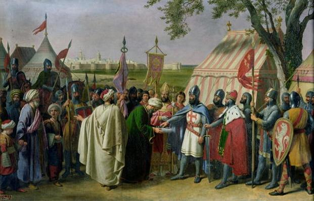 Count of Tripoli accepting the Surrender of the city of Tyre in 1124, 1840