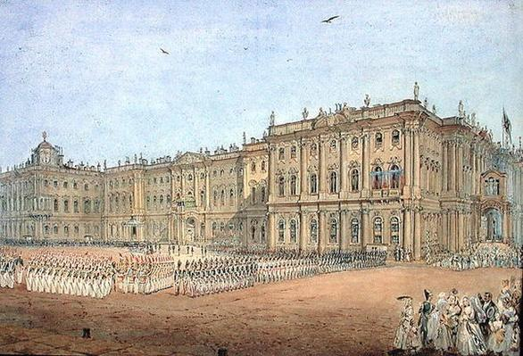 Review at the Winter Palace in St. Petersburg, 1840s