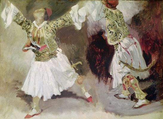 Two Greek Soldiers Dancing