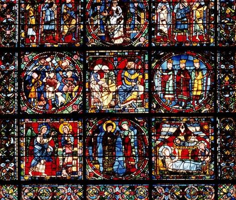 The Incarnation Window, detail of the lower part depicting the Annunciation, the Visitation, the Nativity, the Annunciation to the Shepherds and the Magi before Herod