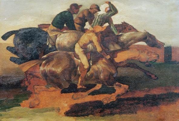 Four Jockeys Galloping
