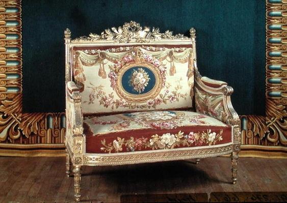 Louis XVI style love seat for the salon of the Chateau de Saint-Cloud, 1855