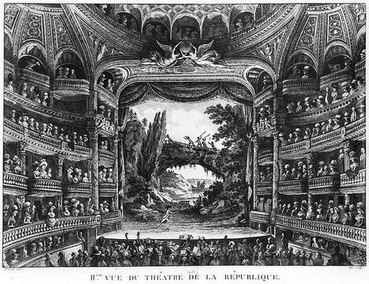 Second view of the Theatre de la Republique, plate 83 from volume IV of 'Voyage de France'