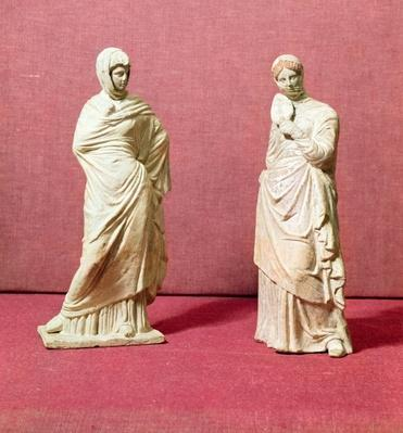Two statues of standing women, from Tanagra, c.350 BC