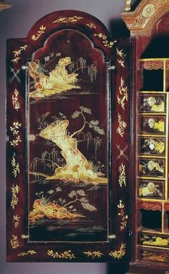 Desk decorated with Chinese lacquer, detail of door, Louis XV style
