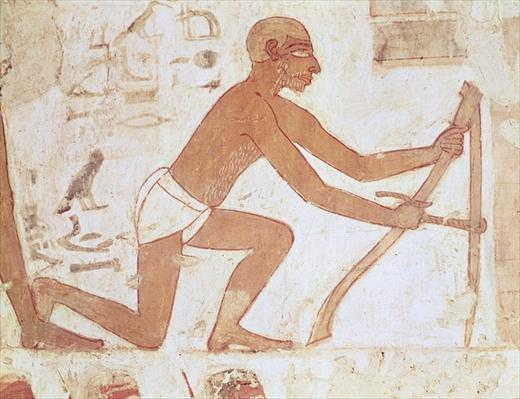 Construction of a wall, detail of a man with a hoe, from the Tomb of Rekhmire, vizier of Tuthmosis III and Amenhotep II, New Kingdom