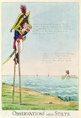 Observations Upon Stilts, caricature of Napoleon standing on stilts observing Pitt and England across the Channel