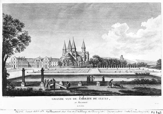View of Cluny Abbey, from 'Voyage Pittoresque de la France' engraved under direction of Francois Denis Nee
