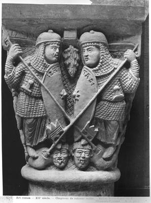 Generosity and Charity piercing two Vices, capital depicting the Fight of the Vices against the Virtues, from the church of Notre-Dame-du-Port, Clermont-Ferrand