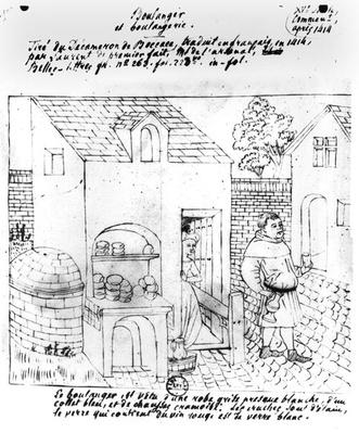 Baker and Bakery, drawn after an original illumination for a French translation of the 'Decameron' by Boccaccio