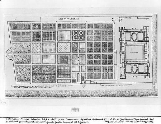 Plan of the Palace and Garden of the Tuileries, Paris, from 'Les Plus Excellents Batiments de France' by Du Cerceau