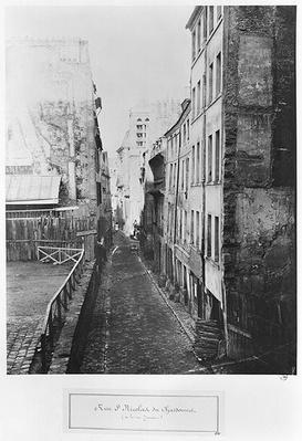 Rue Saint-Nicolas-du-Chardonnet, from the street Traversine, Paris, 1858-78