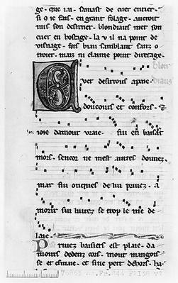 Ms.Fr 844 fol.138v Song by Blondel de Nesles