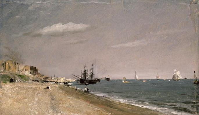 Brighton Beach with colliers, 1824