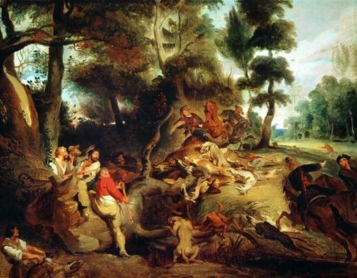 The Wild Boar Hunt, after a painting by Rubens, c.1840-50