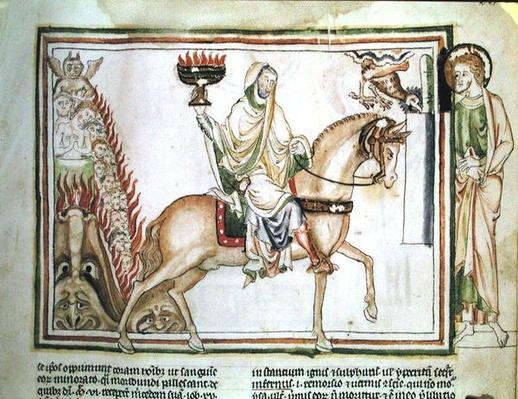 Ms 422 fol.22r The Opening of the Fourth Seal: Death Riding the Pale Horse