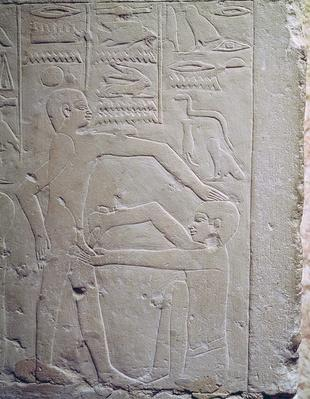 Relief depicting a scene of circumcision, from the Mastaba of Ankh-Ma-Hor 'The Doctor's Tomb', Old Kingdom