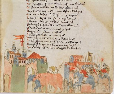 Ms Est 27 W 8.17 f.6r Peasants entering a town with their cattle and the arrival of Attila's army, from 'The War of Attila' by Nicola da Casola