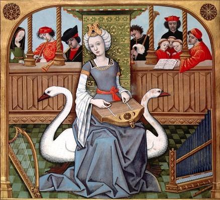 Allegory of Music, ms Francais 143 fol.65v from 'Le Livre des Echecs Amoureux Moralis�s' by Evrart de Conty c.1500