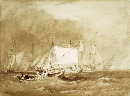 Shipping Scene, with Fishermen, c.1815-20