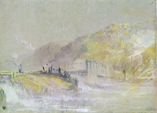 Foul by God: River Landscape with Anglers Fishing from a Weir, c.1830