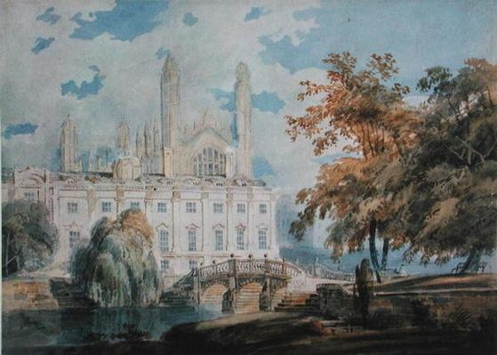 Clare Hall and the West End of King's College Chapel, Cambridge, from the banks of the River Cam, 1793