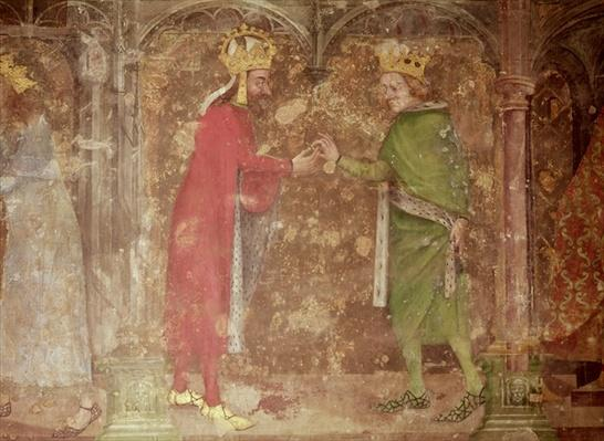 The Holy Roman Emperor Charles IV receiving a thorn from the crown of Christ from the French king, Jean II, from the chapel of Our Lady, 1357-60