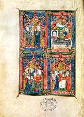 Ms 87 fol.16 The Annunciation, the Nativity, the Adoration of the Magi and the Purification, from the Hours of Mahaut d'Artois
