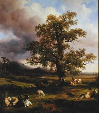 Animals Resting around a Large Oak Tree, 1842