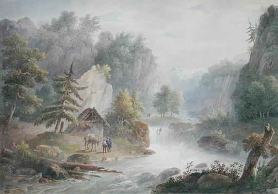 Mountainous Landscape with a Torrent, 1825