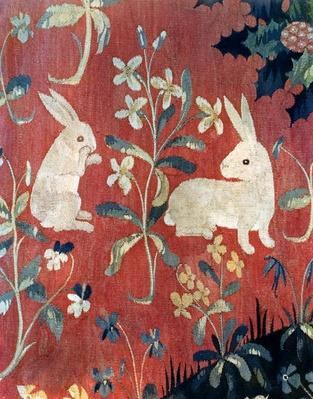 The Lady and the Unicorn: 'Taste', detail of two rabbits