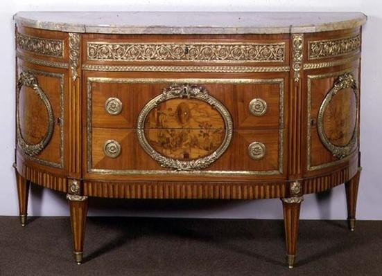 Commode, with tulipwood marquetry panels, ormolu mounts, by Joseph Stockel, 18th century