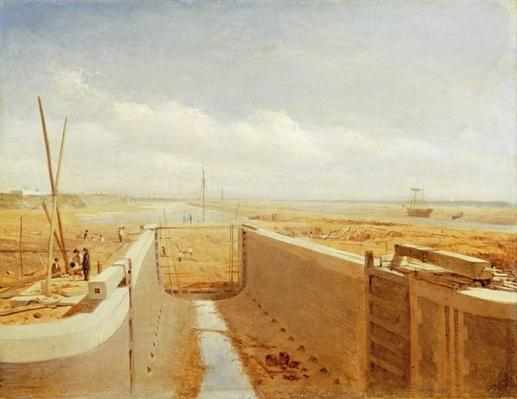 Canal under Construction, possibly the Bude Canal, c.1840