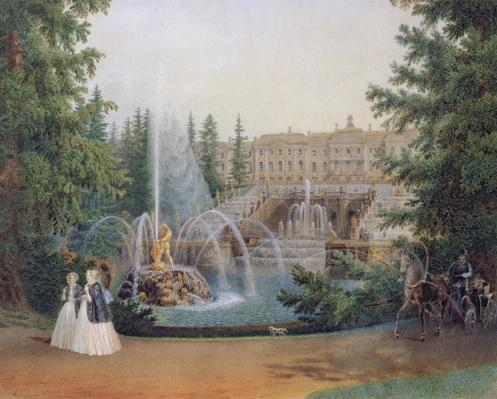 View of the Marly Cascade from the Lower Garden of the Peterhof Palace, c.1830-60