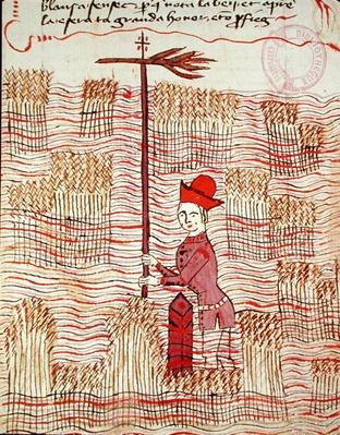 Ms 327 fol.197r Surveyor in a field, from 'Traite d'Arpentage' by Arnaud de Villeneuve
