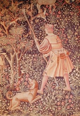 A man gathering pears with a hoe, from 'Jeu de Marelle et Cueillette de Fruits', Loire Workshop, 1510