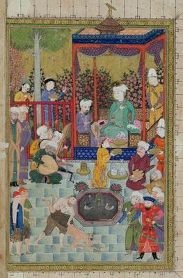 Ms C-822 fol.1v A Princely Reception, illustration from the 'Shahnama'